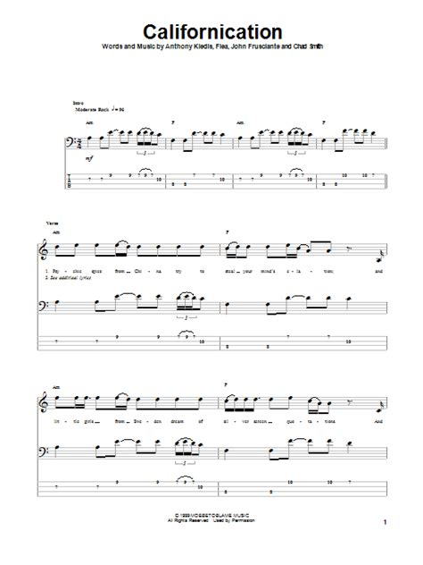 Californication by Red Hot Chili Peppers - Bass Tab