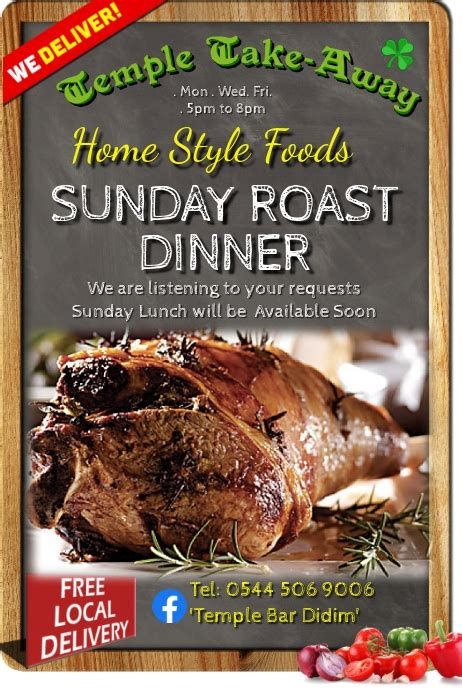 Sunday Roast Dinner Beef Take-Away Template   PosterMyWall