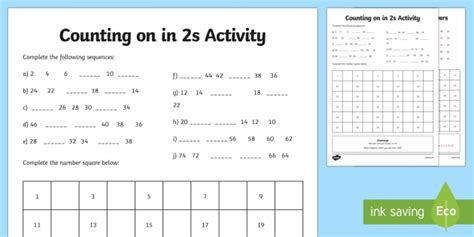 Skip Counting by 2's | Skip Counting Worksheets