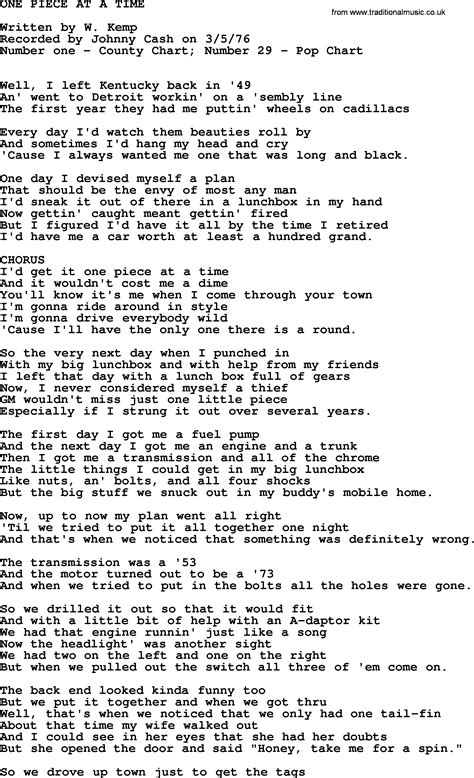 Johnny Cash song: One Piece At A Time, lyrics