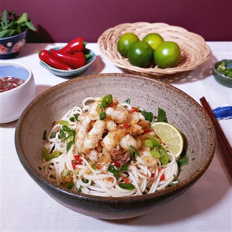 Salt & Pepper Squid With Noodle Salad And A Nuoc Cham