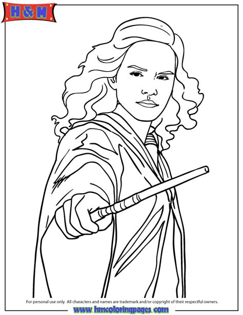 Harry Potter Hermione Granger Holding Wand Coloring Page
