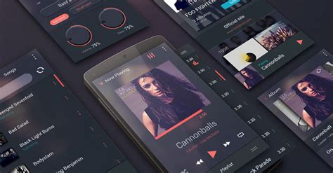 Free PSD Music Player UI Kit for Android - TechClient